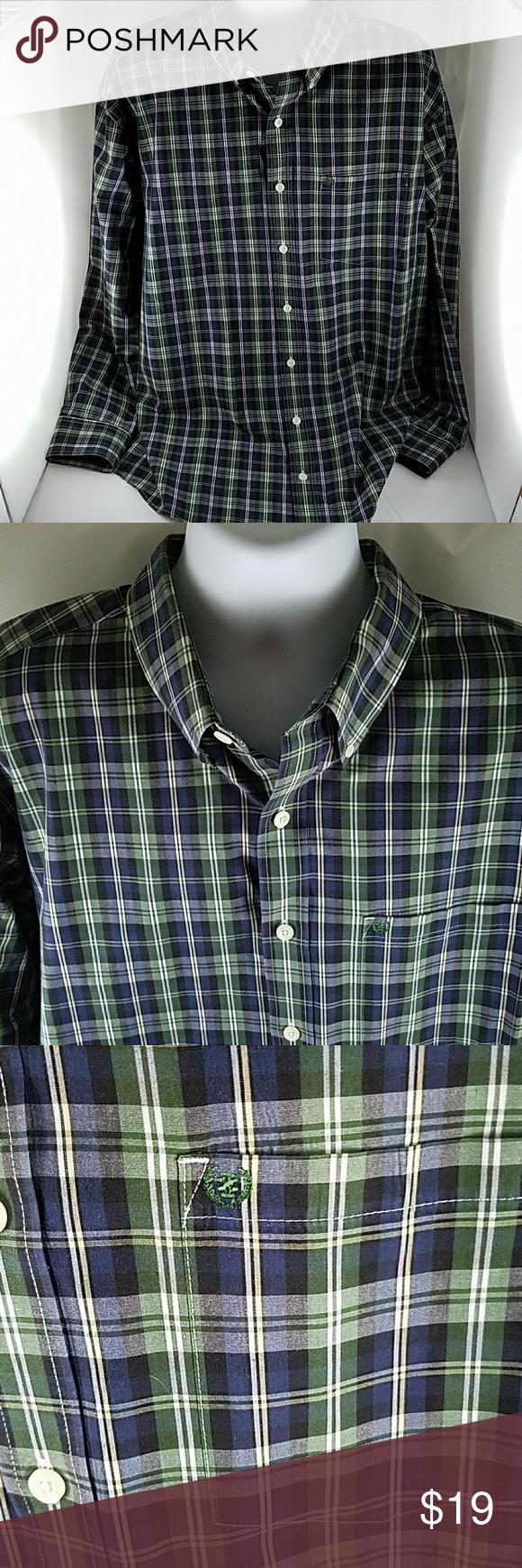 Mens izod green beige white plaid button shirt xl white plaid