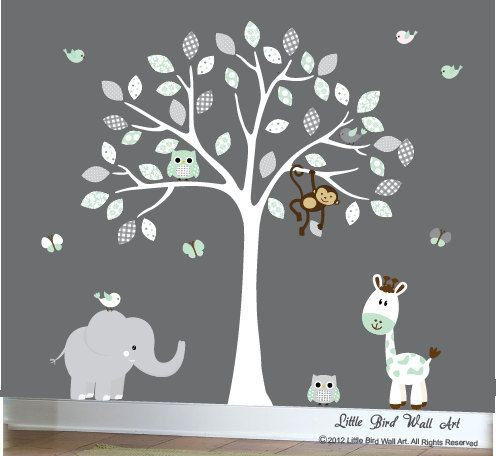 White Tree Decal Childrens Wall Decal By Littlebirdwalldecals