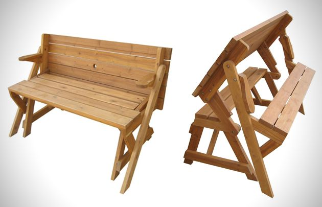 Sensational Foldable Picnic Table Turns Into A Garden Bench 1 W00Dwork Machost Co Dining Chair Design Ideas Machostcouk