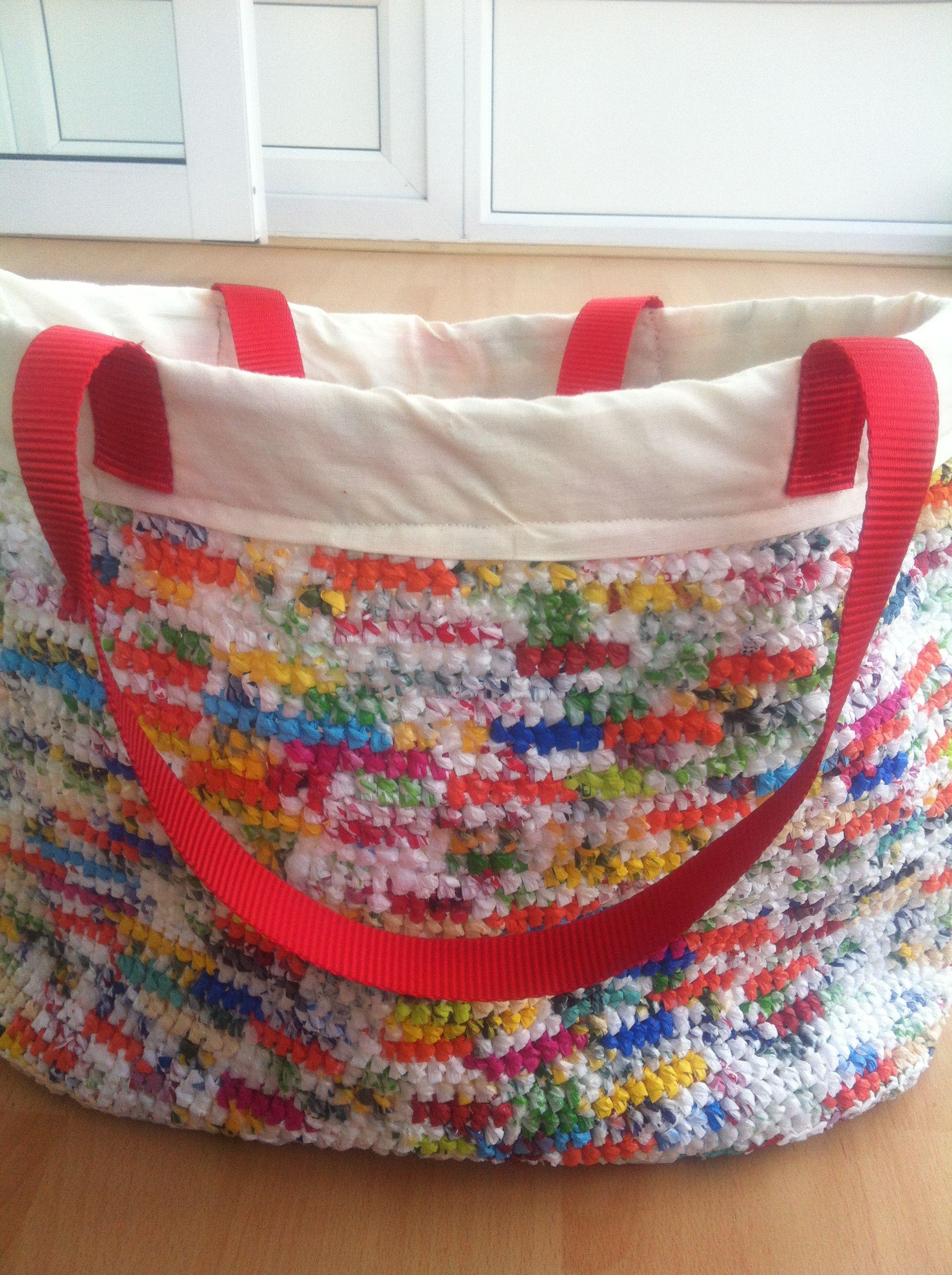 Crochet Plarn Tote Bag Pattern : Crochet Plarn Bag crochet Pinterest