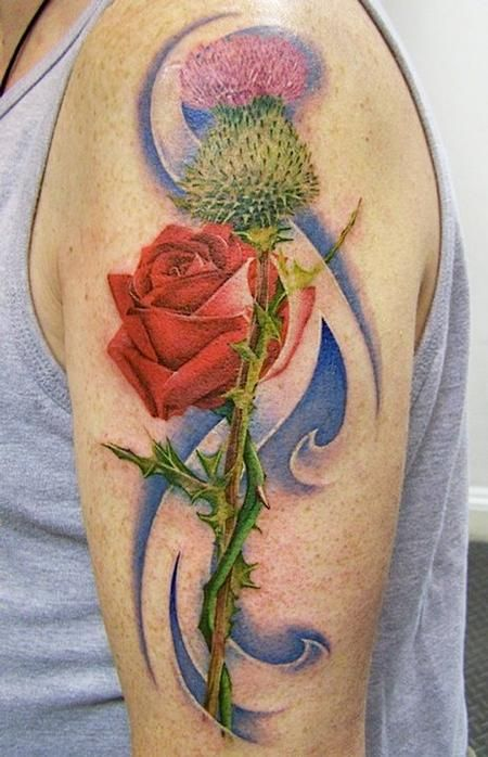 Off The Map Tattoo Tattoos Flower Rose And Thistle Tattoo Thistle Tattoo Thistle Rose Tattoo Tattoos