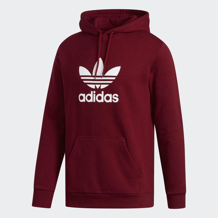 Trefoil Hoodie Burgundy Red M Mens | Adidas hoodie mens