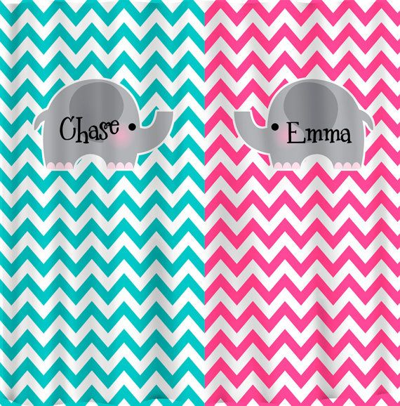 Split Color Elephant Theme Chevron Shower Curtain  Hot Pink and Turquoise  Chevron   any two color combinationsSplit Color Elephant Theme Chevron Shower Curtain  Hot Pink and  . Turquoise Chevron Shower Curtain. Home Design Ideas