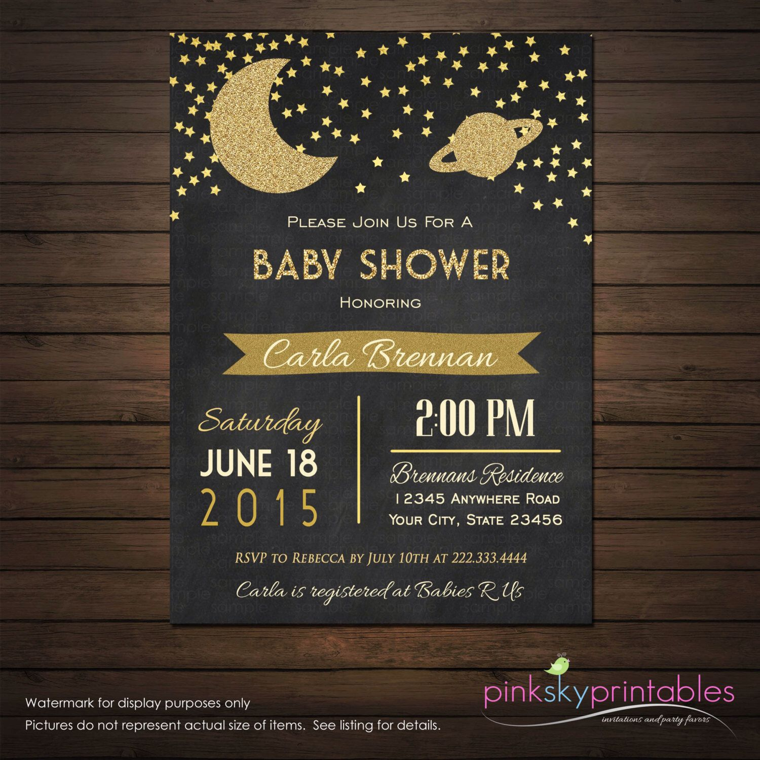 Moon and stars space galaxy baby shower invitations printable space galaxy baby shower invitations printable file gold stars glitter invitation chalkboard shower invitation diy by pinkskyprintables on etsy filmwisefo