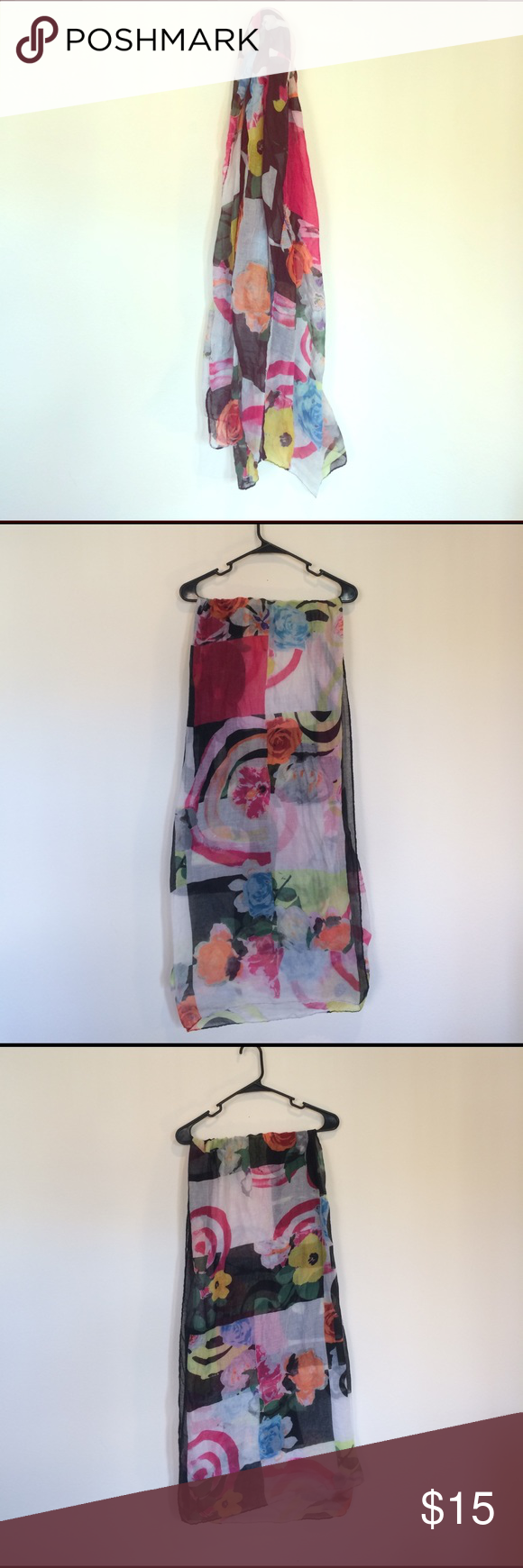 """Desigual Pink/White/Black Scarf. One Size. White/pink/black scarf by Desigual. Spells """"Desigual"""" when laid flat. Lightly worn. One Size. Desigual Accessories Scarves & Wraps"""
