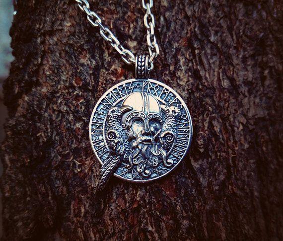 Odin With Ravens Viking Pendant Sterling Silver Viking Amulet Raven Pendant Scandinavian Norse Pendant Viking Jewelry Odin Pendant Viking Jewelry Vikings Viking Symbols