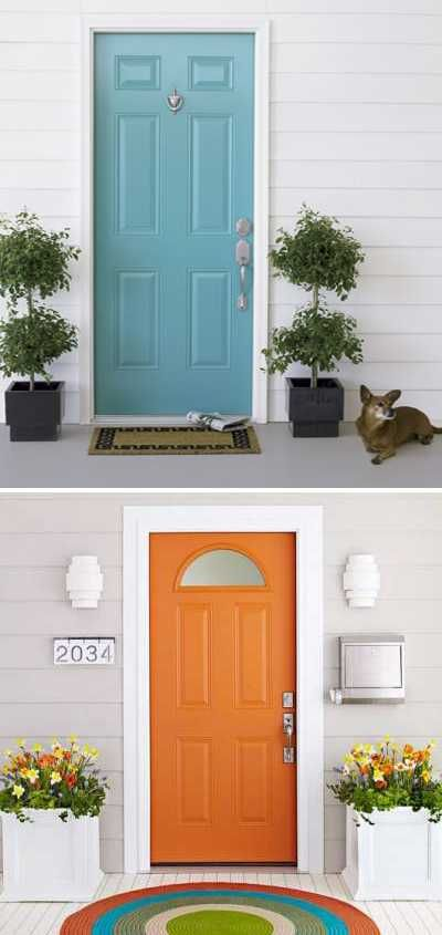 exterior wood door decorating with paint to personalize house