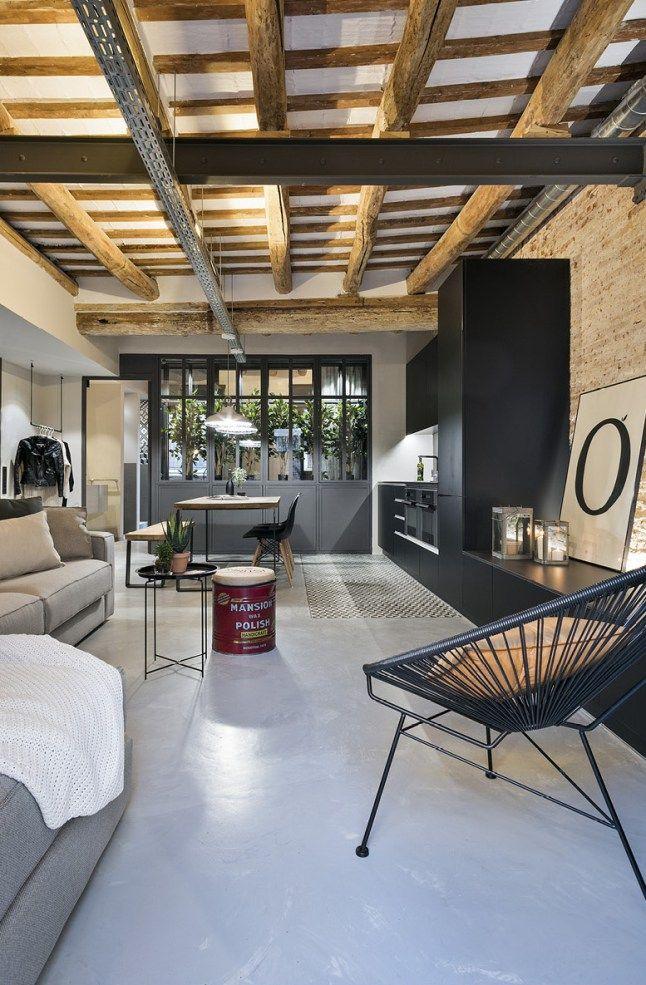 Le mur en pierre apparente en 57 photos! Salons, House and French - dalle beton interieur maison