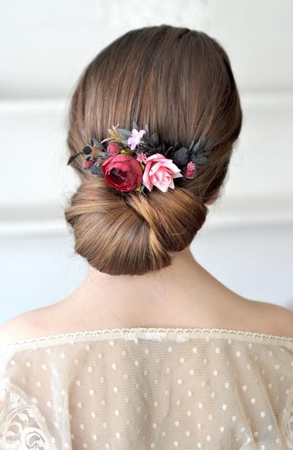 Maroon flower comb Pink floral headpiece Wedding hair comb Burgundy flower  accessories Bridesmaids hair piece wedding | Bridesmaid hair pieces,  Wedding hair head piece, Wedding hair pieces