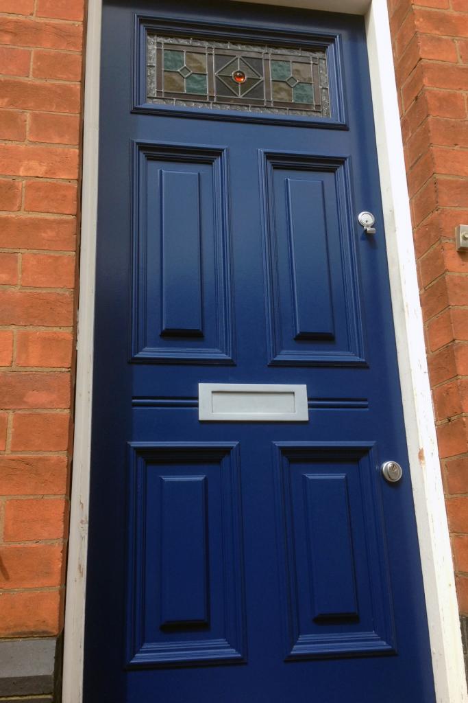 Five panel Georgian front door with stained glass & 5-Panel Georgian Front Door u2022 Old English Doors u2022 Nottingham ...