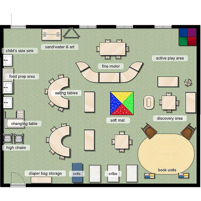 Classroom layout early toddler 12 months classroom for Preschool classroom floor plan