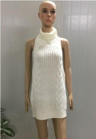 Sweaters Summer Turtleneck Sleeveless Long Virgin Killer Sweater Japanes Knitted Sexy Backless Women Sweaters Pullovers Pullovers
