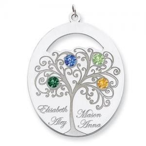 Family tree necklace with names and birthstones silver or gold mothers family tree necklace with up to 4 names and birthstones aloadofball Gallery