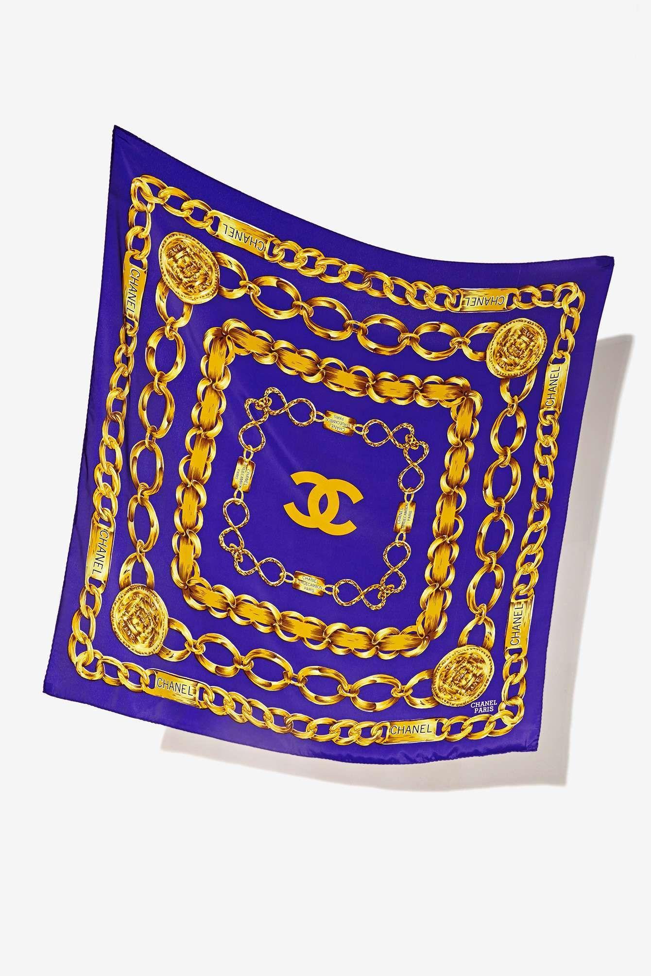Vintage Chanel Rue de Cambon Purple Silk Scarf   foulard en soie ... e73247fbeac