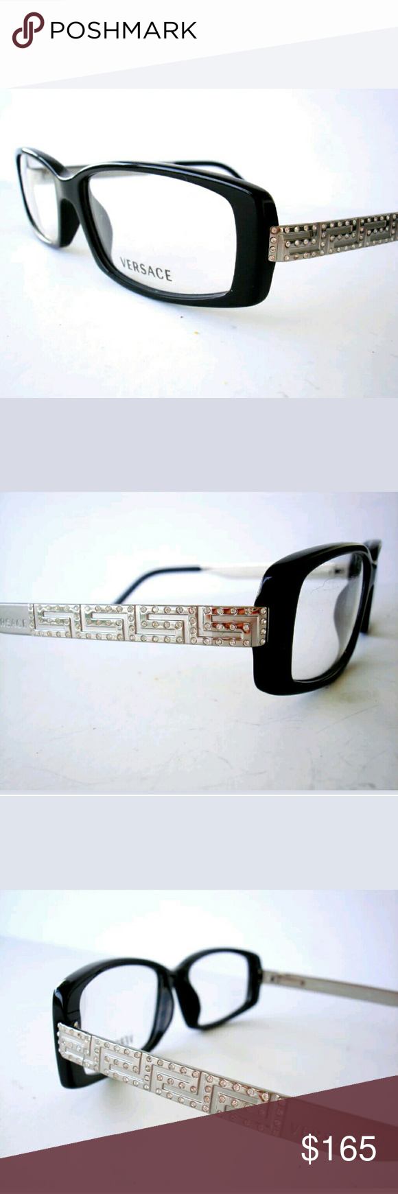 bae9aaacc74a Versace Eyeglasses Authentic Black and silver frame Crystal on sides  52-15-135 Case included Versace Accessories Glasses