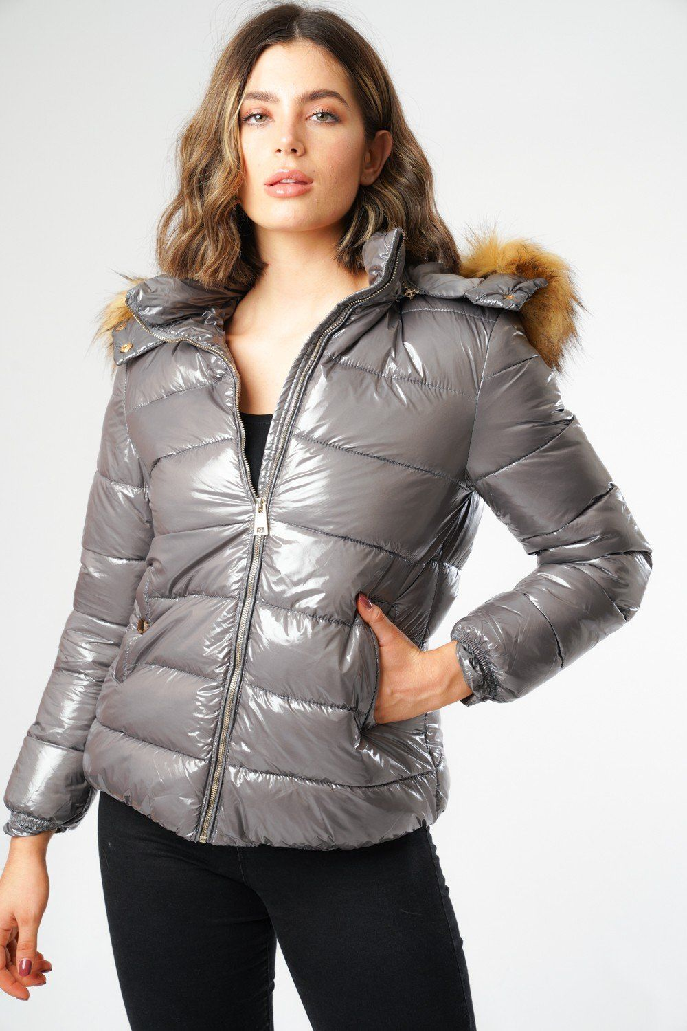Grey Shiny Puffer Jacket with Big Faux Fur in 2020