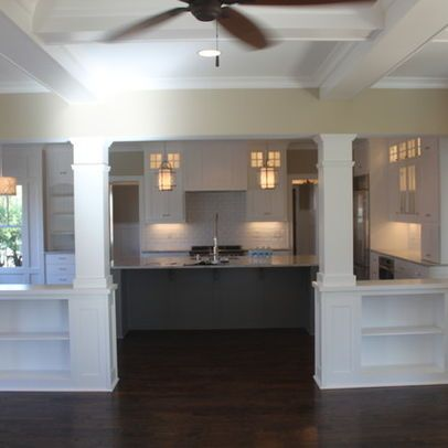 Living Room Half Wall With Column Design Ideas Pictures Remodel And Decor Half Wall Room Divider Half Walls Small Basement Remodel