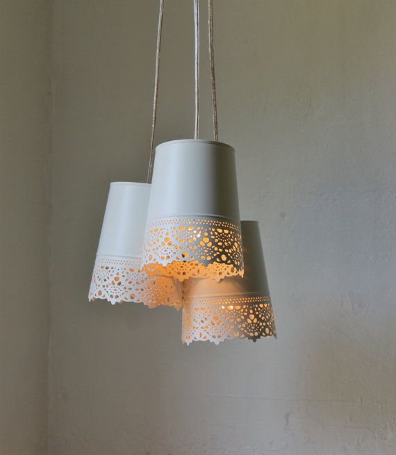 Lace Plant Pot Chandelier  Upcycled Hanging Pendant von BootsNGus, $75.00