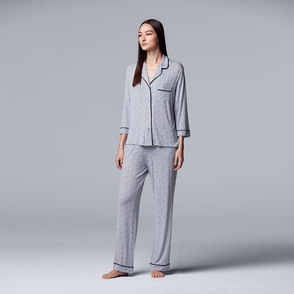 a521870a78 Women s Simply Vera Vera Wang Notch Collar Shirt   Pants Pajama Set ...