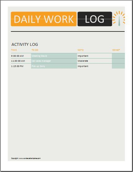 Daily Work Log Templates Word, Excel  PDF Templates Templates