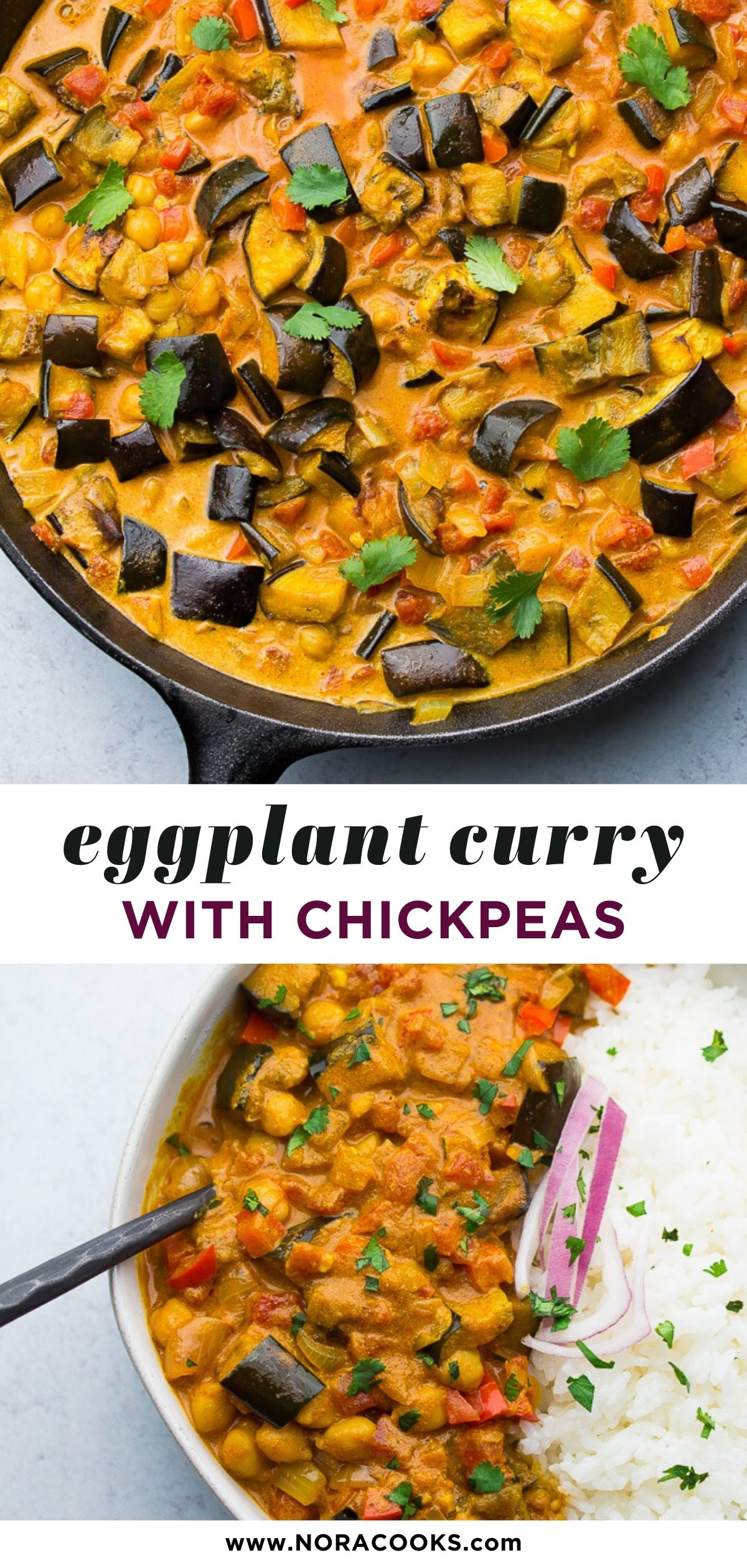 Roasted Eggplant Curry with Chickpeas