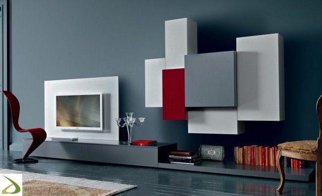 Mobile soggiorno moderno di design con pannello porta tv ...