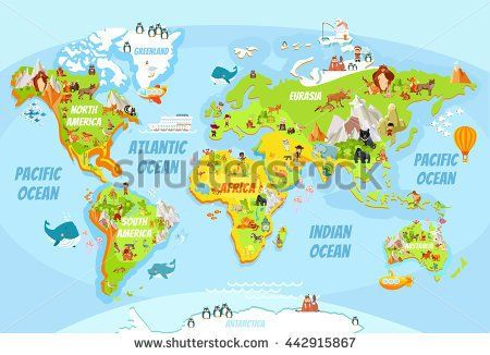 Cartoon world map with a lot of funny animalssea creaturesvarious cartoon world map with a lot of funny animalssea creaturesvarious landscapes and peoples of various nationalitieseat for kids designeducational game gumiabroncs Images