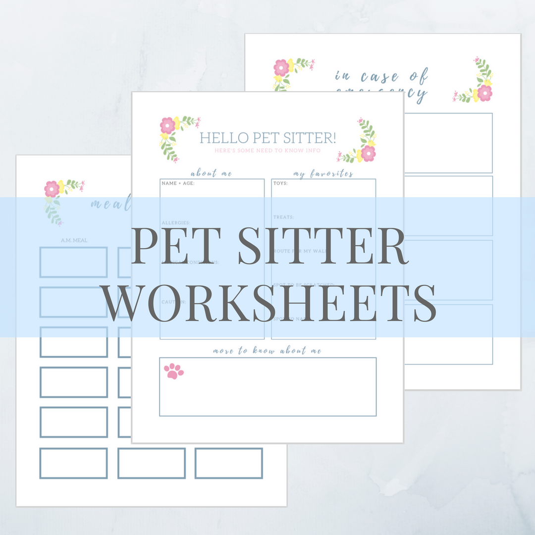 Printable Pet Sitter Worksheets