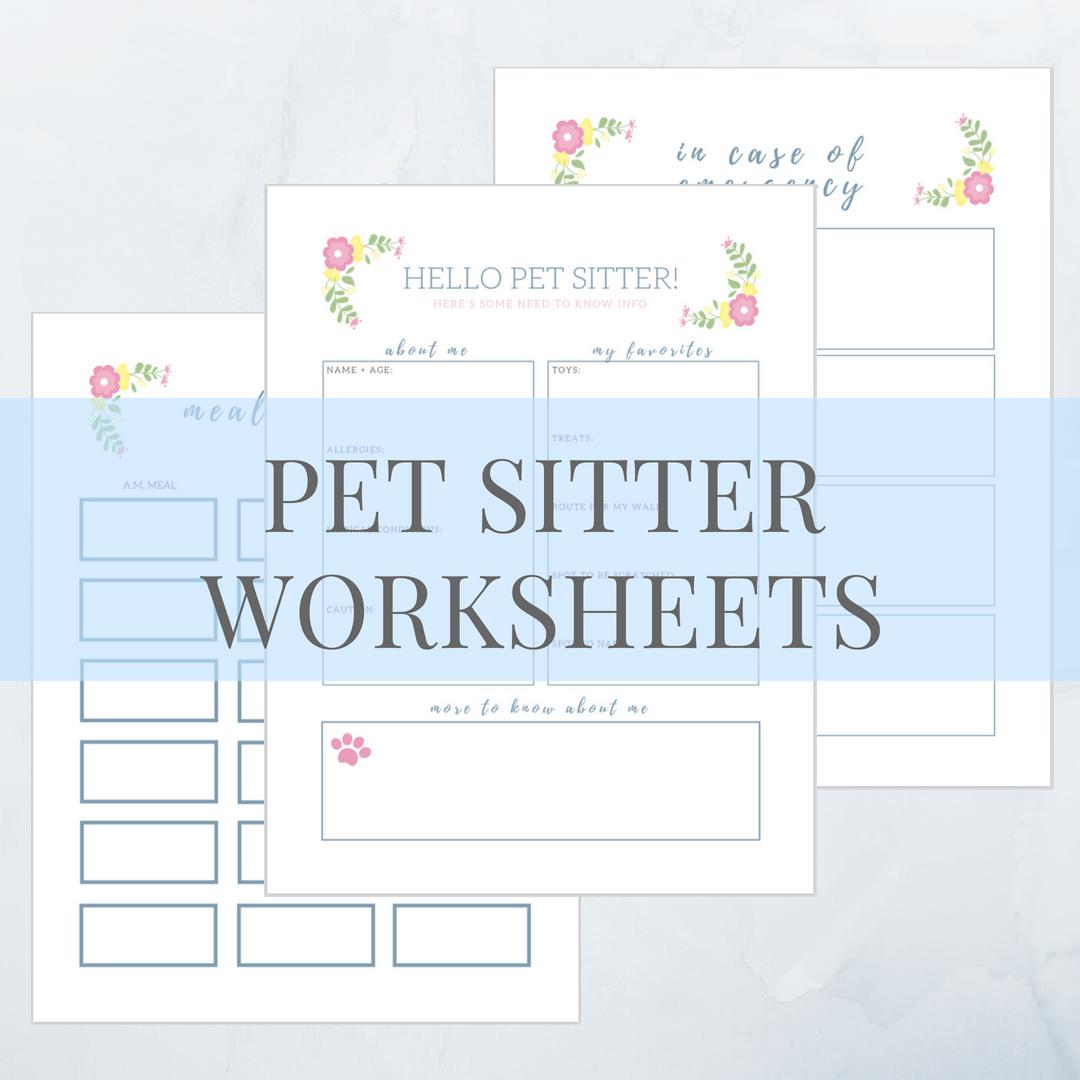 Printable Pet Sitter Worksheets