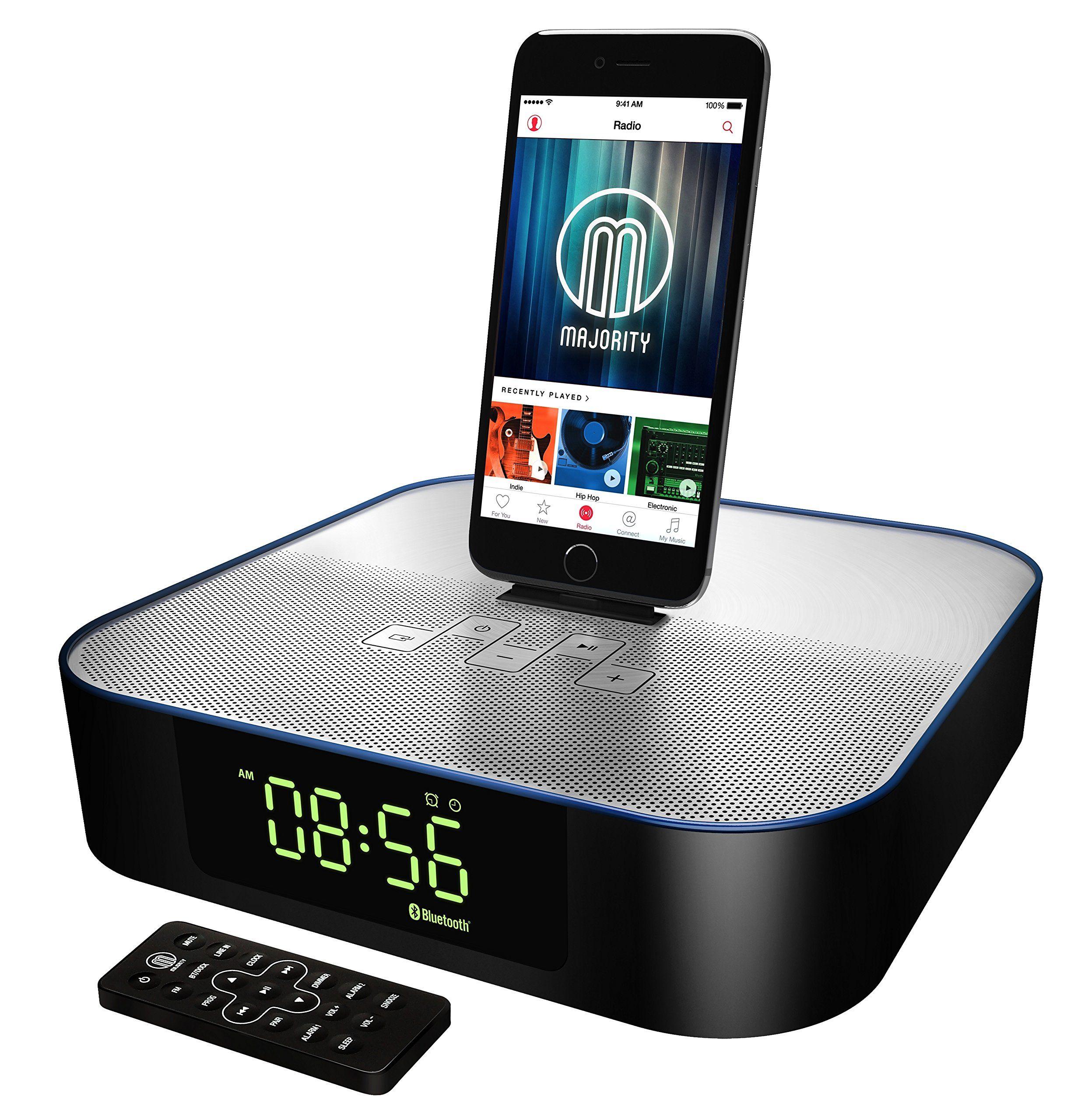Titan Speaker Docking Station Bluetooth Alarm Clock Fm Radio Lightning Dock For Iphone 5 5s 5c 6 6 6s Ipad Air Mini Ipod Iphone Iphone 5 Ipod