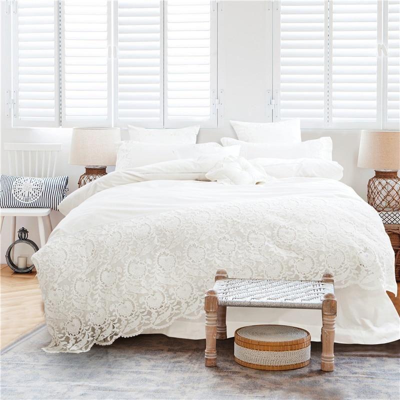 White Lace Bedding Set 100% Cotton Soft Bedclothes Queen ...