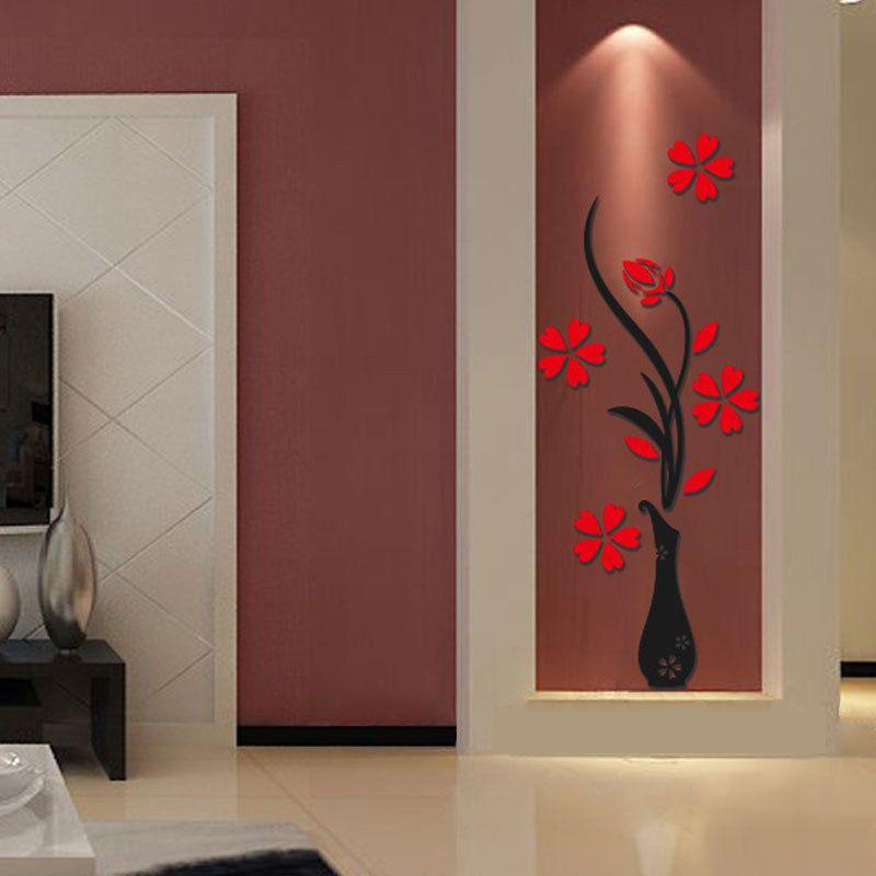 3d red plum flower vase mirror decor diy wall decals