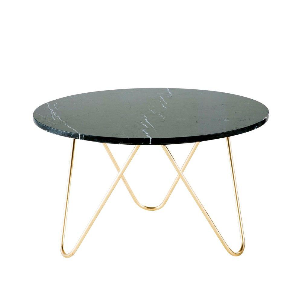 Table Basse En Marbre Noir Et Métal Doré Maisons Du Monde Couchtisch Marmor Wohnzimmertische Couchtisch Metall