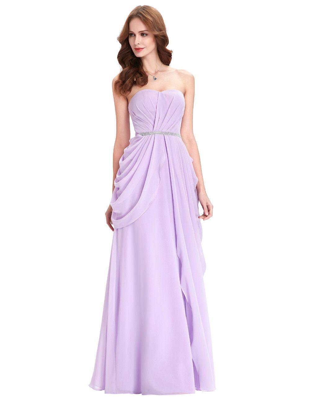 Purple Lavender Long Chiffon Floor Length Bridesmaid Dress   Short ...