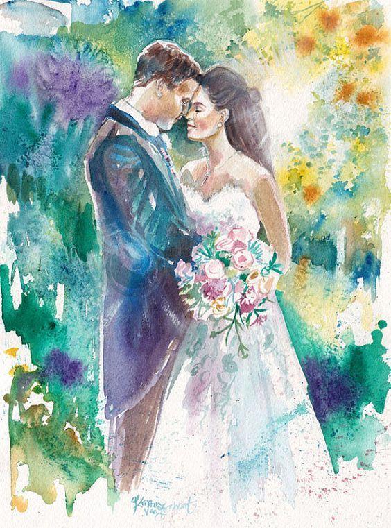 Открытки, свадьба картинка нарисованная
