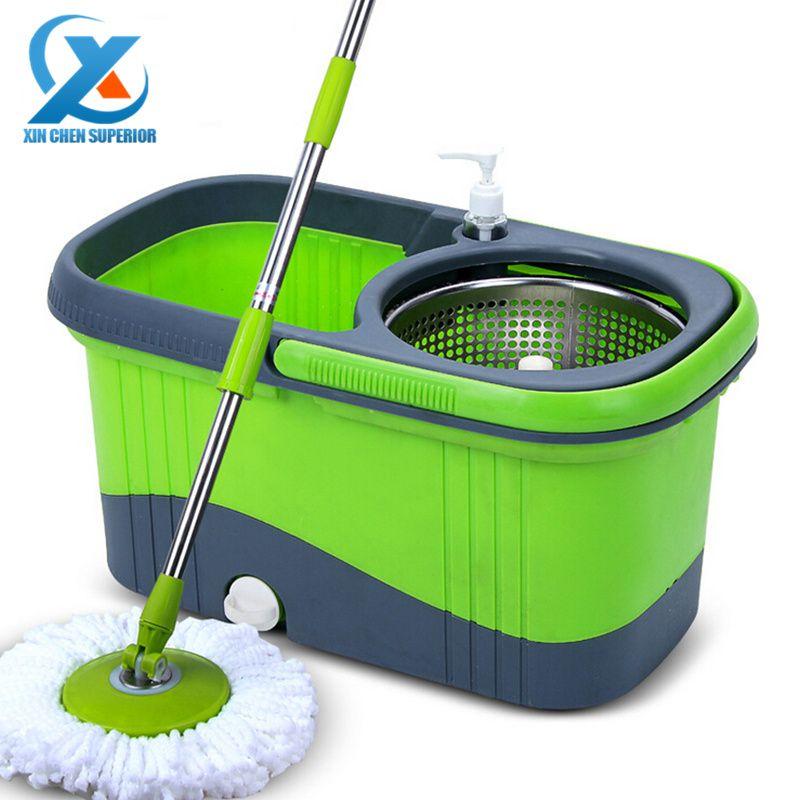 Portable Ménage En Acier Inoxydable Spinning Mop Seau Main Presse - nettoyage a sec maison