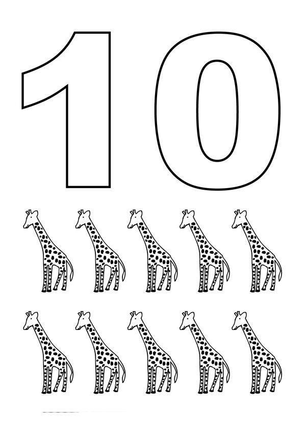 Numero 10 com figuras | Educação | Pinterest | Numbers, Coloring ...