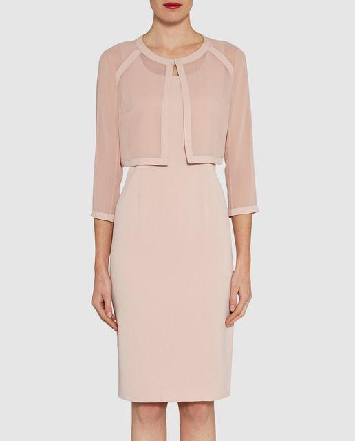 Conjunto formado por chaqueta y vestido en color rosa palo - Color rosa palo ...