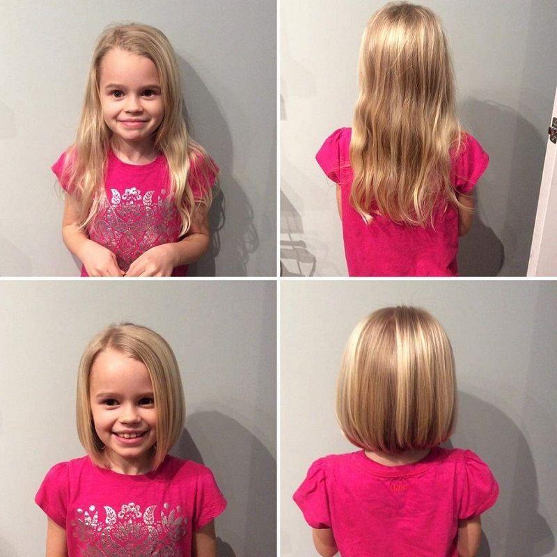 carré plongeant cheveux blonds petite fille top idées coupes | Coupe cheveux fillette, Coupes de ...