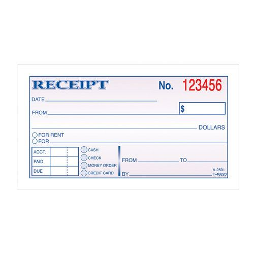 Adams 2-Part Carbonless Money Rent Receipt Book Spa materials - format rent receipt