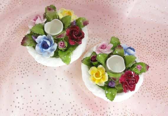 Aynsley Vintage Candle Holders by VictoriannaCharmers on Etsy