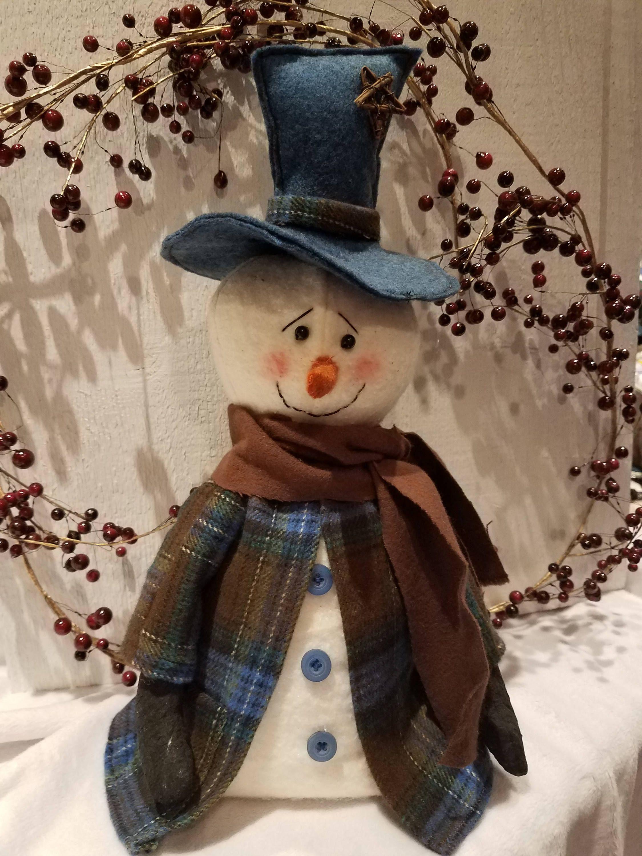 EPATTERN-Christmas Snowman and Tree Shelf Sitter EPattern~Primitive Folk Art Holiday Door Hanger INSTANT DOWNLOAD Wreath Decor