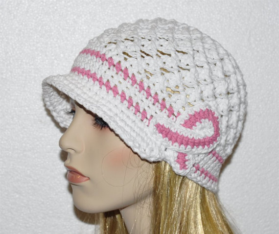 Womans Crochet White Chemo Cap, Breast Cancer Awareness Hat with cancer logo