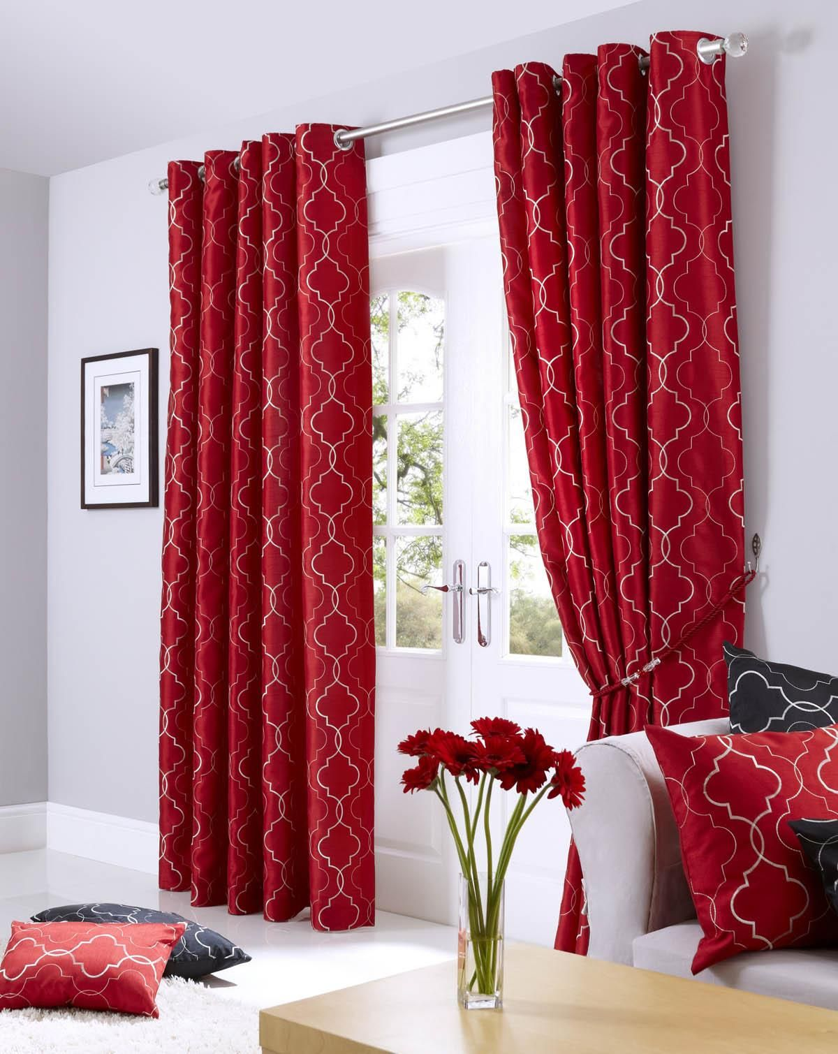 The Vivid Tones Of Midtown Eyelet Lined Curtains Red Add Drama To Any Room They Adorn
