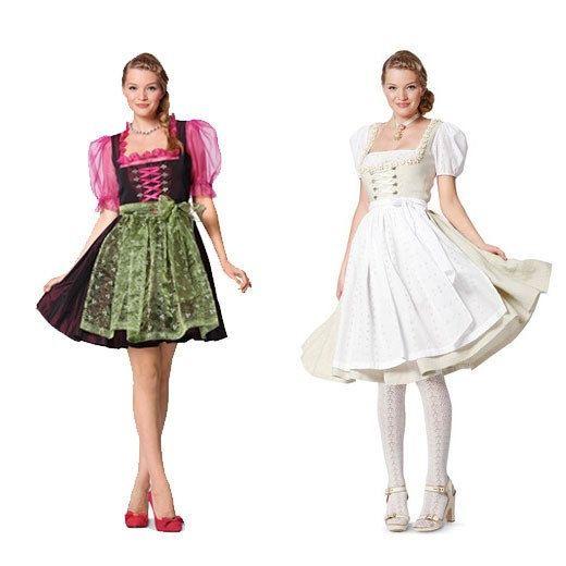 DIRNDL CORSET DRESS Pattern & Apron Lace-Up Bodice Square Neck Puff ...