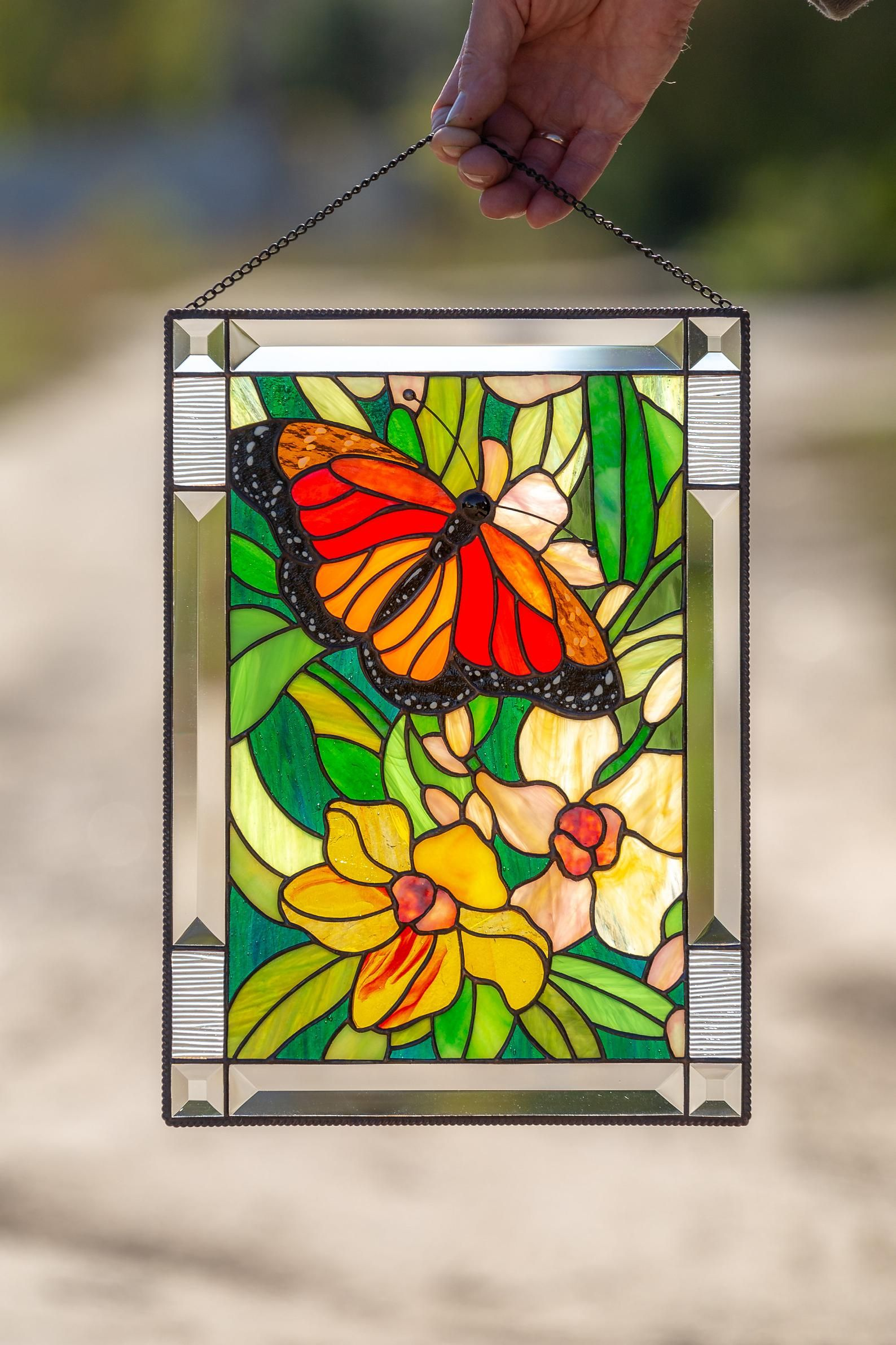 Monarch Butterfly Wall Art Custom Stained Glass Panel Parent Wedding Gift Stained Glass Window Hangings Lake House Decor In 2020 Stained Glass Window Hanging Custom Wall Art Butterfly Wall Art