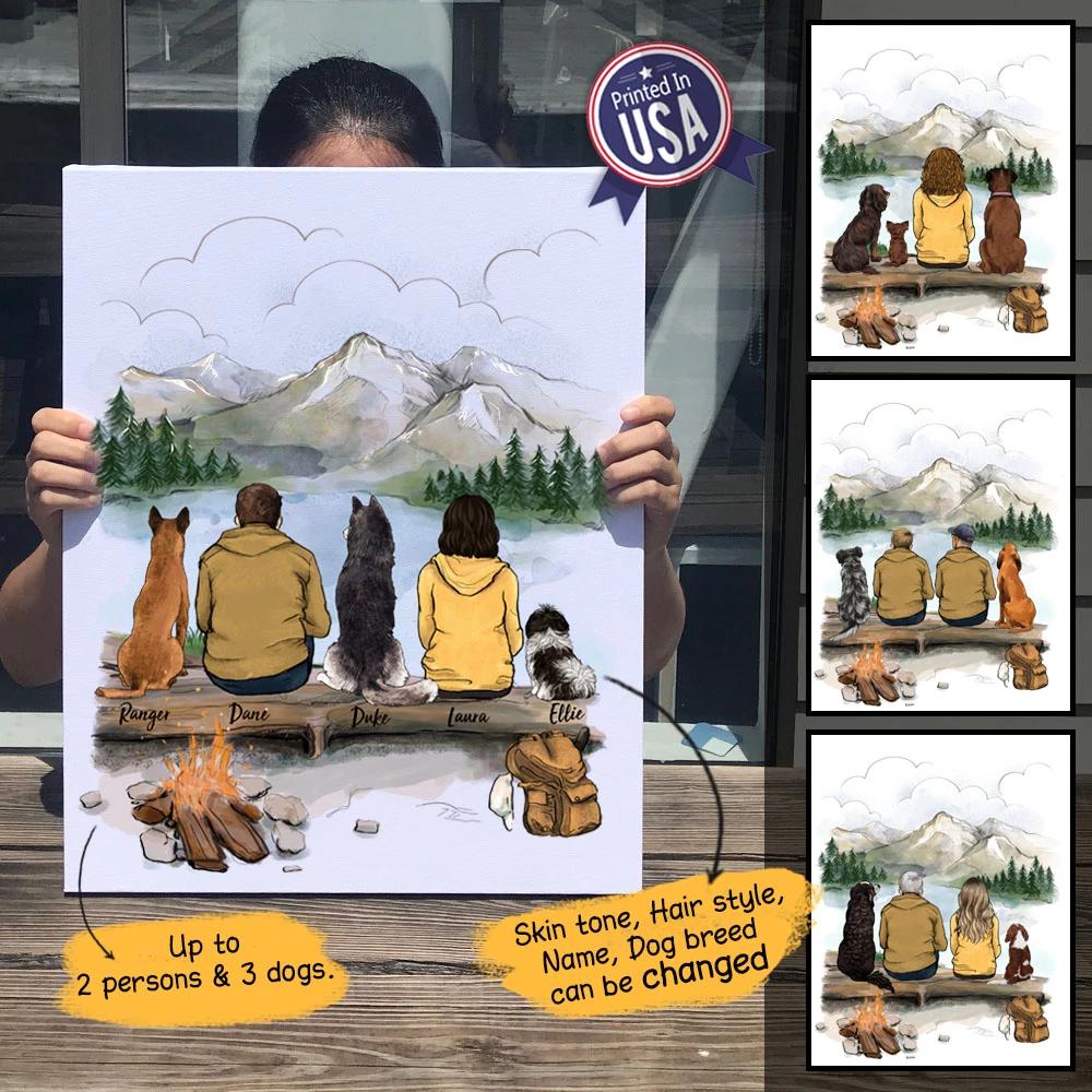 Personalized custom dog & couple canvas print canvas art