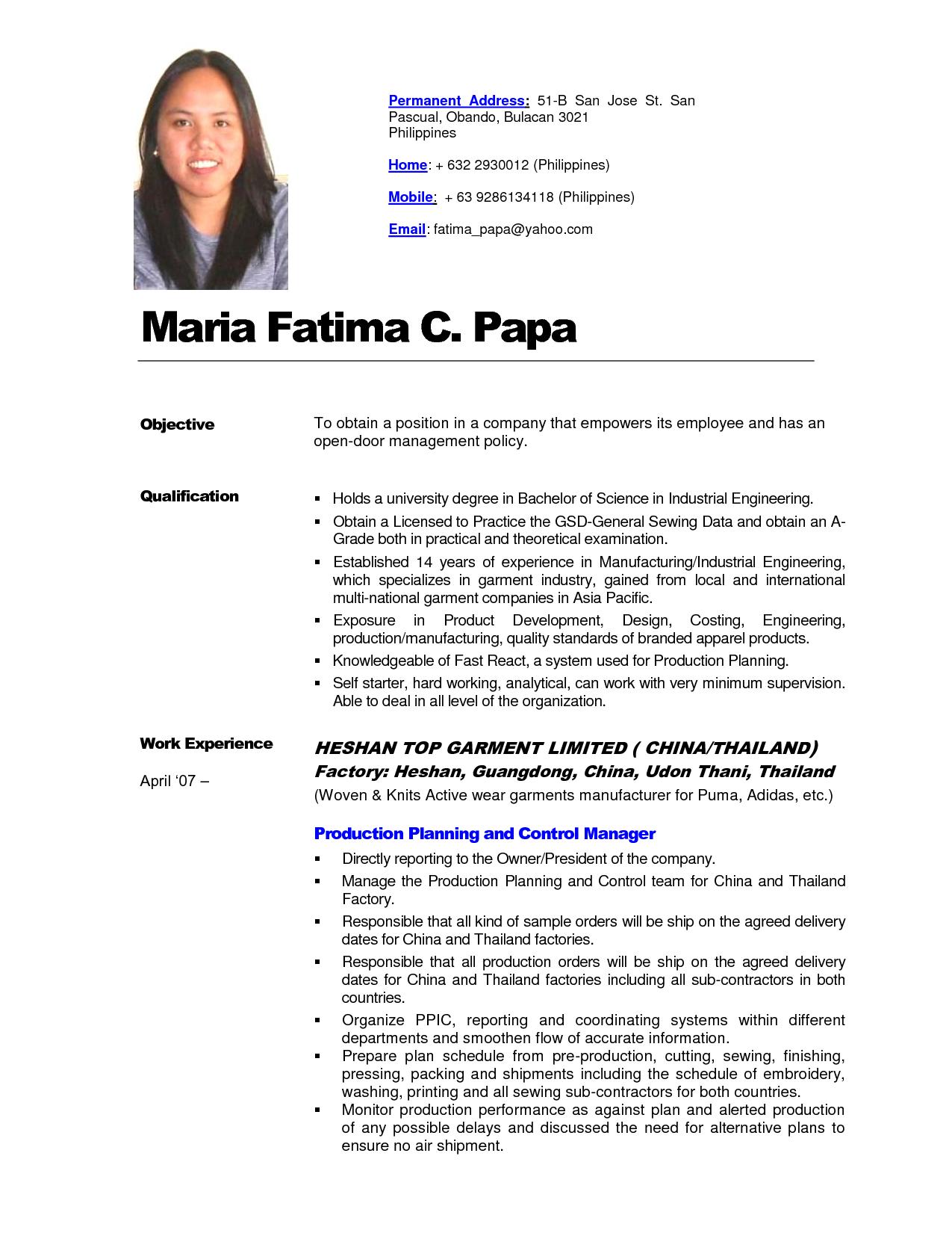 Philippines Resume Sample Resumesdesign Resume Templates Resume Basic Resume
