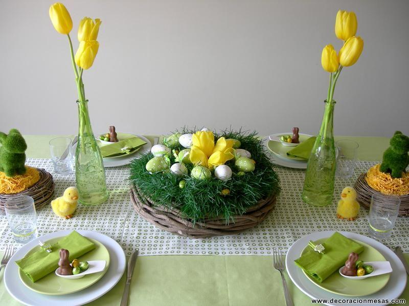 Decoracion de mesas mesa de pascua easter pinterest for Decoracion pascua