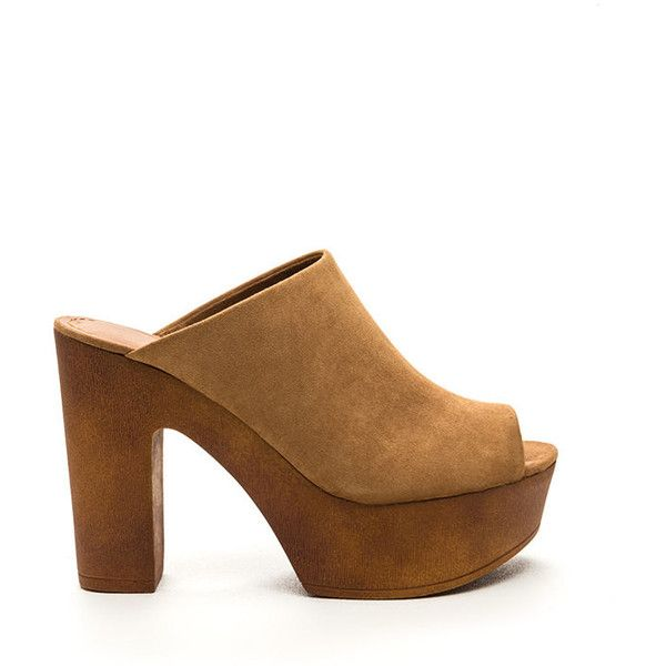 TAN 70s Classic Faux Suede Mules ($22) ❤ liked on Polyvore featuring shoes,